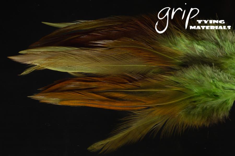 Strung Saddle Hackle 5-7Inch – Chartreuse over natural