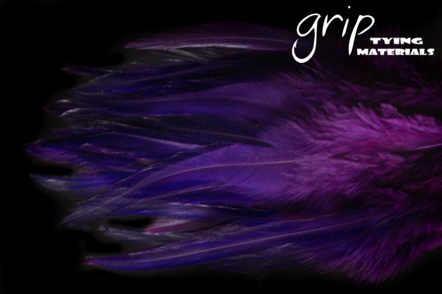 Strung Saddle Hackle 5-7Inch – Purple